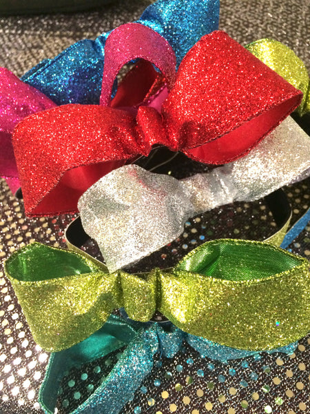 Silver Sparkle Bow Non-Slip Headband - Rock City Skirts