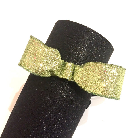 Lime Green Glitter Bow Non-Slip Headband - Rock City Skirts