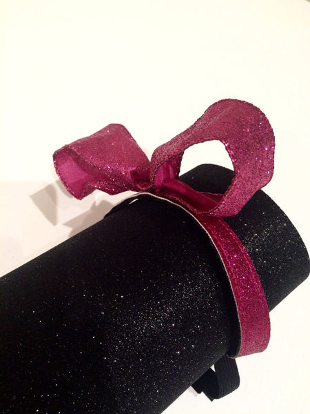 Fuchsia Glitter Bow Non-Slip Headband - Rock City Skirts