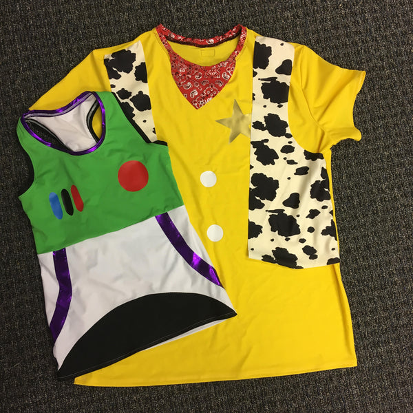 "Men's Toy Story ""Woody"" Inspired  Shirt (with Built in Cow Vest) - Rock City Skirts"