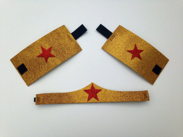 Children's Wonderful Woman Headband and Cuffs - Rock City Skirts