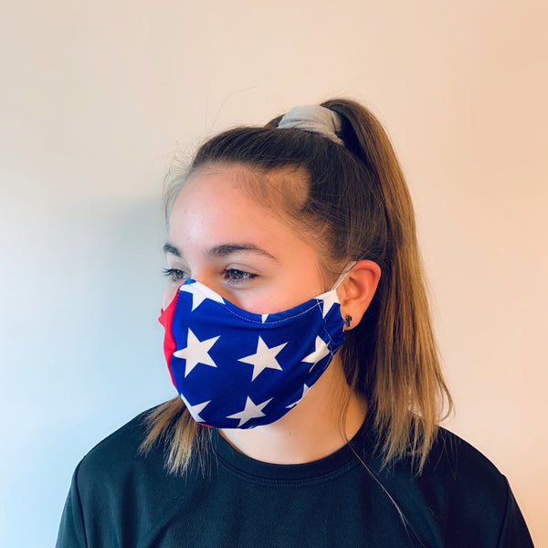 Wonder Woman themed Spandex Reusable Fitted Mask w/Filter Pocket - Rock City Skirts