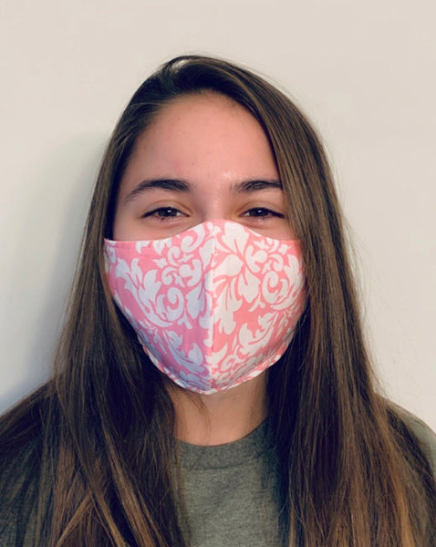 Pink Damask Reusable Fitted Mask w/Filter Pocket - Rock City Skirts