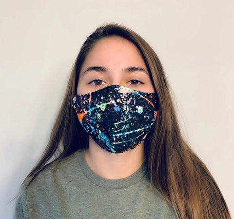 Unisex Adult Face Mask-*Spandex* -Splatter Print- USA-Made, Washable Reusable Mask - Rock City Skirts