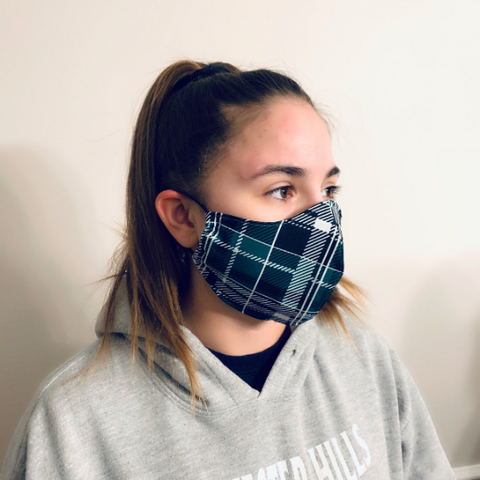 Plaid Water-Resistant Reusable Fitted Mask w/Filter Pocket - Rock City Skirts
