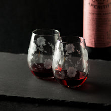Hand Engraved Floral Stemless Wine Glasses