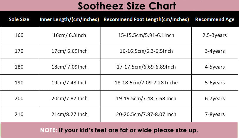 size chart kids eva slippers