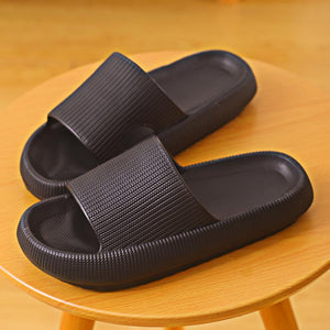 3D Sootheez Extremely Comfy/Thick Slippers (New EVA Technology 2021 with stripes) - 50% OFF W-US: 7.5-8.5 / BLACK
