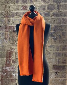 100% pure cashmere scarf shawl wrap pashmina sustainable UK Scotland mens womens orange