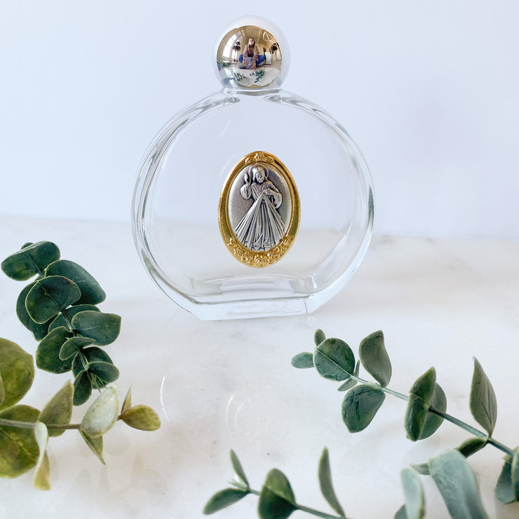 Glass Holy Water Bottle with Divine Mercy Medal