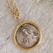 One-of-a-Kind Sacred Heart of Jesus Necklace in Fine Silver with 22K Gold Detail