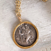 One-of-a-Kind St. Christopher Necklace in Fine Silver with 22K Gold Detail
