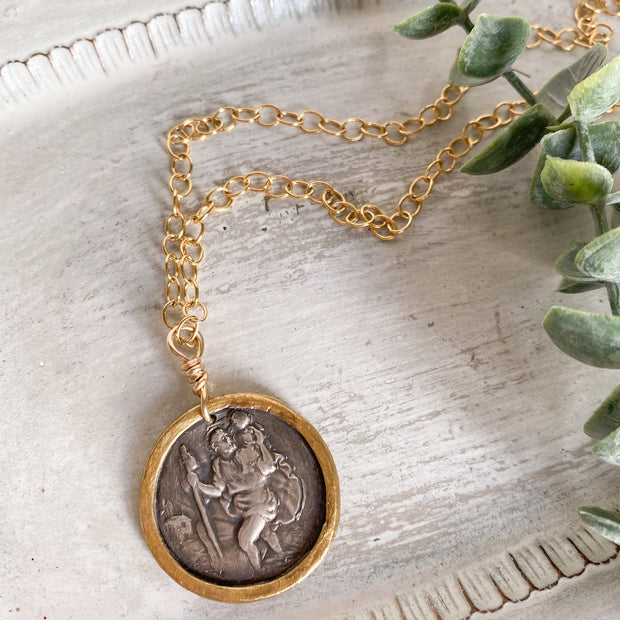 One of a Kind St. Christopher Medallion Accented in 22K Gold on Gold Filled Chain