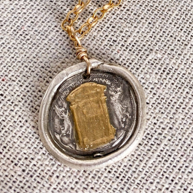 One-of-a-Kind Holy Door Necklace in Fine Silver with 22K Gold Detail