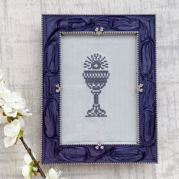 Gray Embroidered Chalice in Periwinkle Frame