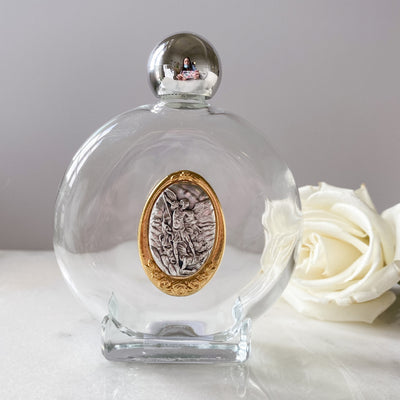 Glass Holy Water Bottle with St. Michael Medal