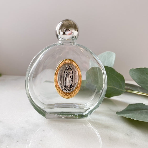 Glass Holy Water Bottle with Our Lady of Guadalupe Medal