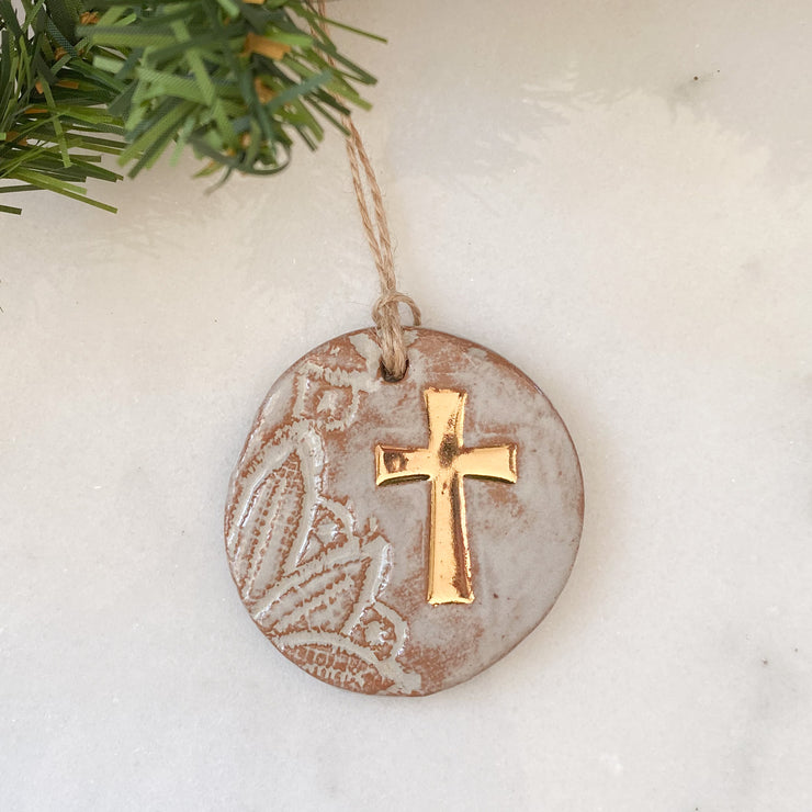 Gold Leaf Cross Ornament