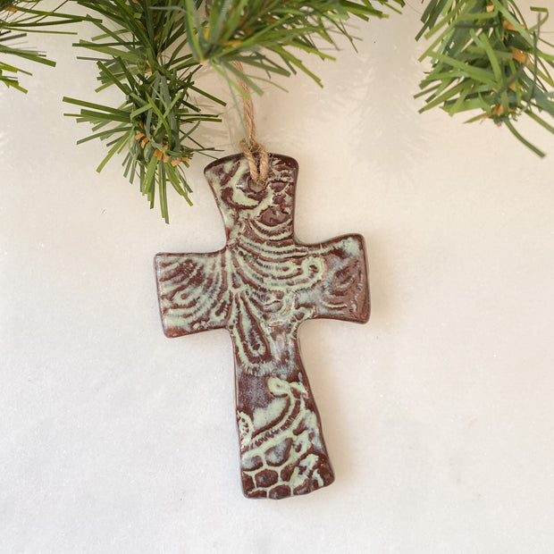 Flared Cross Ornament in Moss Green