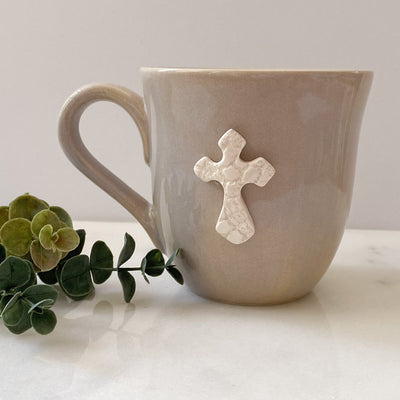 Flared Mug in Oyster with White Cross