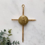 Gold Leaf Cross with Our Lady of Fatima Intaglio