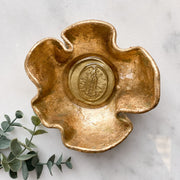 Large Gold Leaf Rosary Bowl with Marian Image