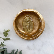 Small Gold Leaf Rosary Bowl with Marian Image