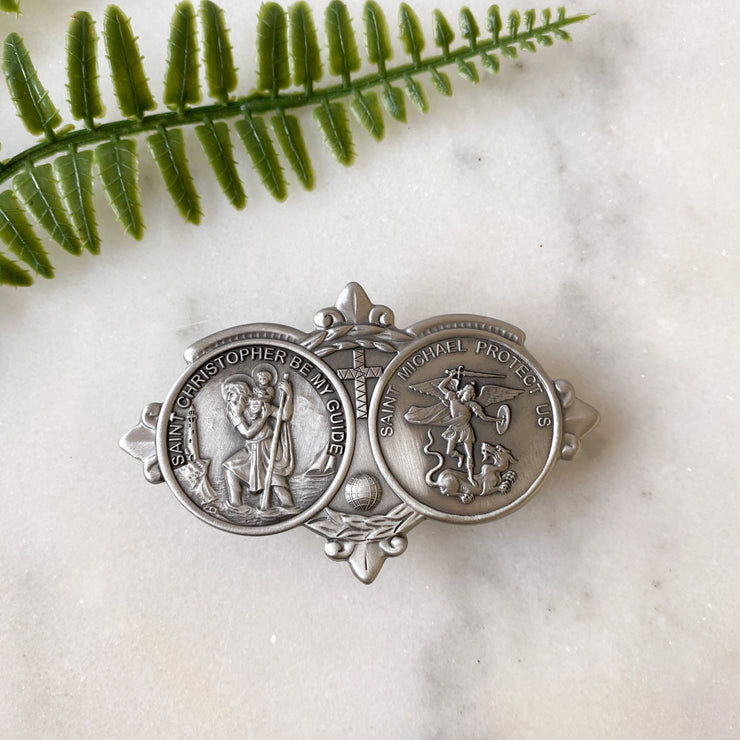 Silver Finish St. Christopher and St Michael Visor Clip