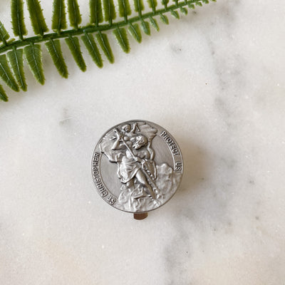 Silver Finish St. Christopher Visor Clip