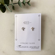 Sterling Silver Tiny Cross Earrings