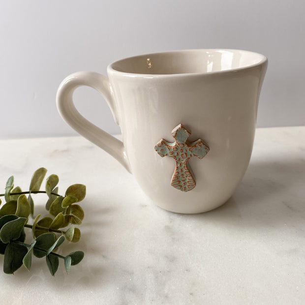 Flared White Mug with Cross in Sea Spray