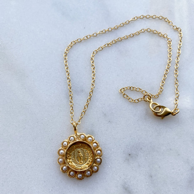 Miraculous Medal Accented in Pearls on Gold Chain