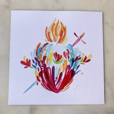 Splashy Watercolor Immaculate Heart Print