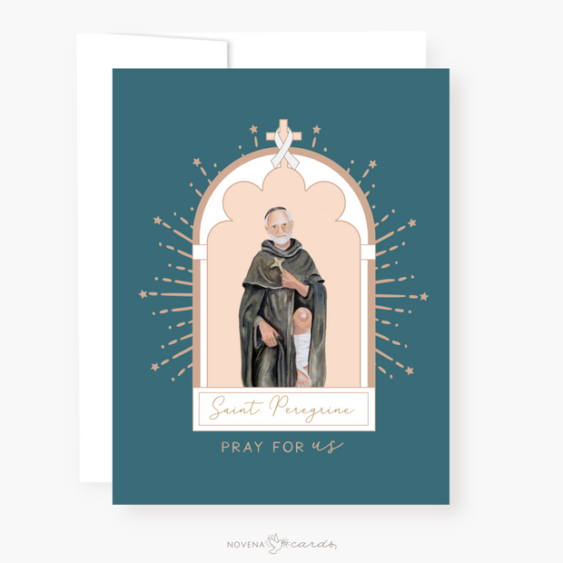 St. Peregrine Novena Card Blue Green