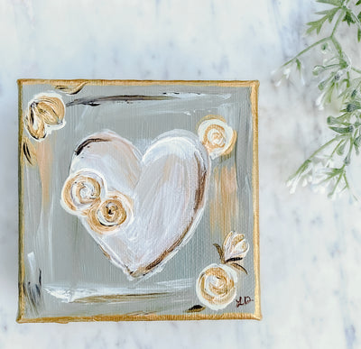 White and Gold Heart on Mini Canvas
