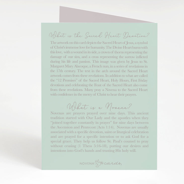 Sacred Heart Novena Card | Mint Green