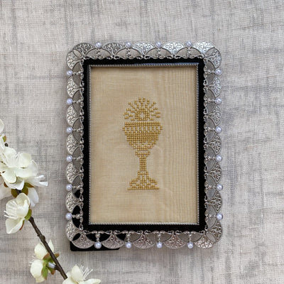 Black and Silver Frame with Gold Chalice