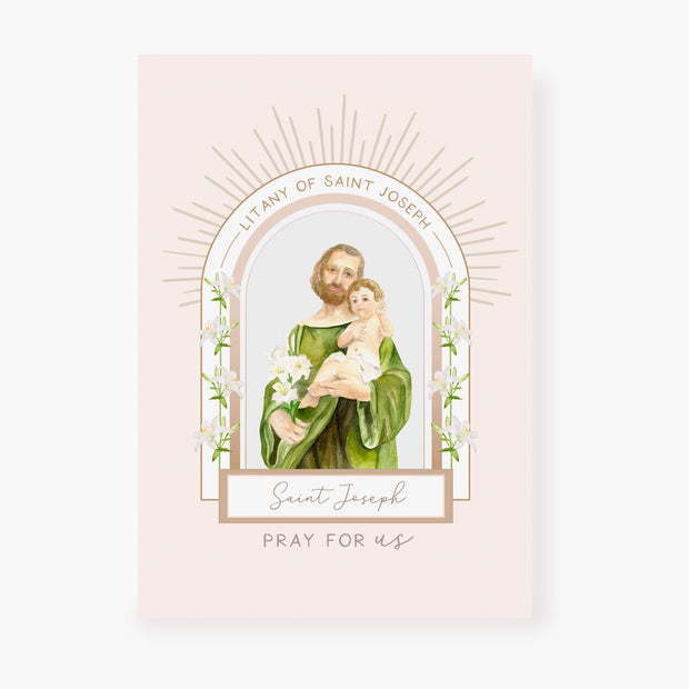 Litany of St Joseph Card | Beige
