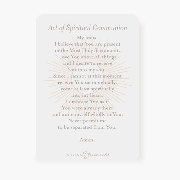 Spiritual Communion Prayer Card | Blessed Sacrament | Beige