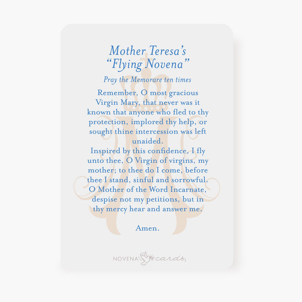 St. Teresa of Calcutta Prayer Card Arch Design Memorare Prayer