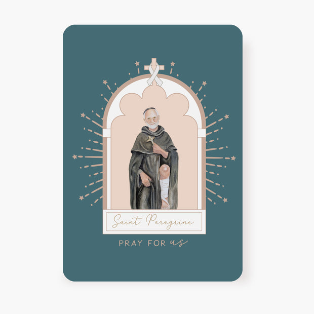 St. Peregrine Prayer Card | Blue Green