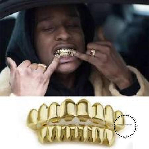 8/8 Hip Hop Teeth Grillz Set Gold Silver Color Top &  Bottom Body Jewelry  Punk Cosplay Party Tooth Grills Gifts - myshoponline.com