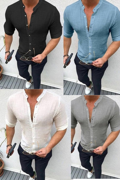 Autumn Plain Mens Dress Shirts Long Sleeve Dress Male Tops Slim Fit Button Shirts V Neck Muscle Tee Men Clothes