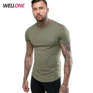 Brand Cotton Solid  Men Short Sleeve T Shirt Fitness Muscle fit - myshoponline.com