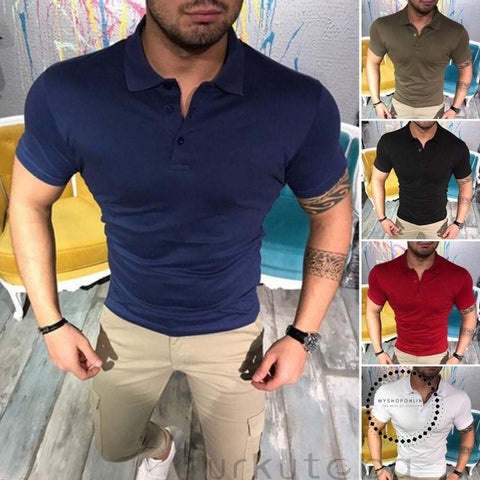 Basic Style Men's Summer Plain Color Shirts Short Sleeve Button Slim Fit Tops Business Smart Casual Tee Tops - myshoponline.com