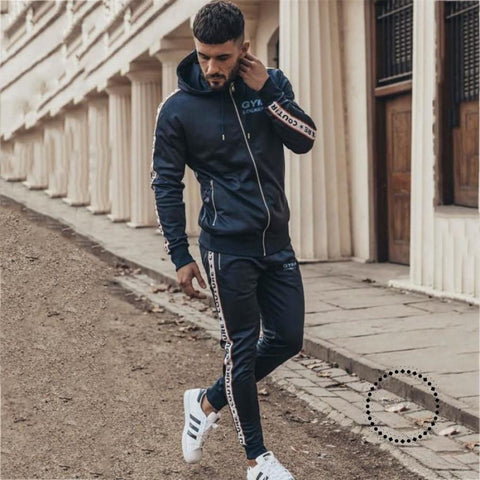 Casual Men's Set Men Gyms Sportwear 2 Piece Set Jogging Suit Mens hoodies Jacket+Pant Sweatsuit Male Tracksuit Set Men Clothing - myshoponline.com