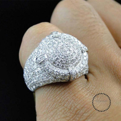 Clear Zircon Luxurious Round Men Ring Silver Color Wedding Band Male Rings Punk Hip Hop Jewelry Engagement - myshoponline.com