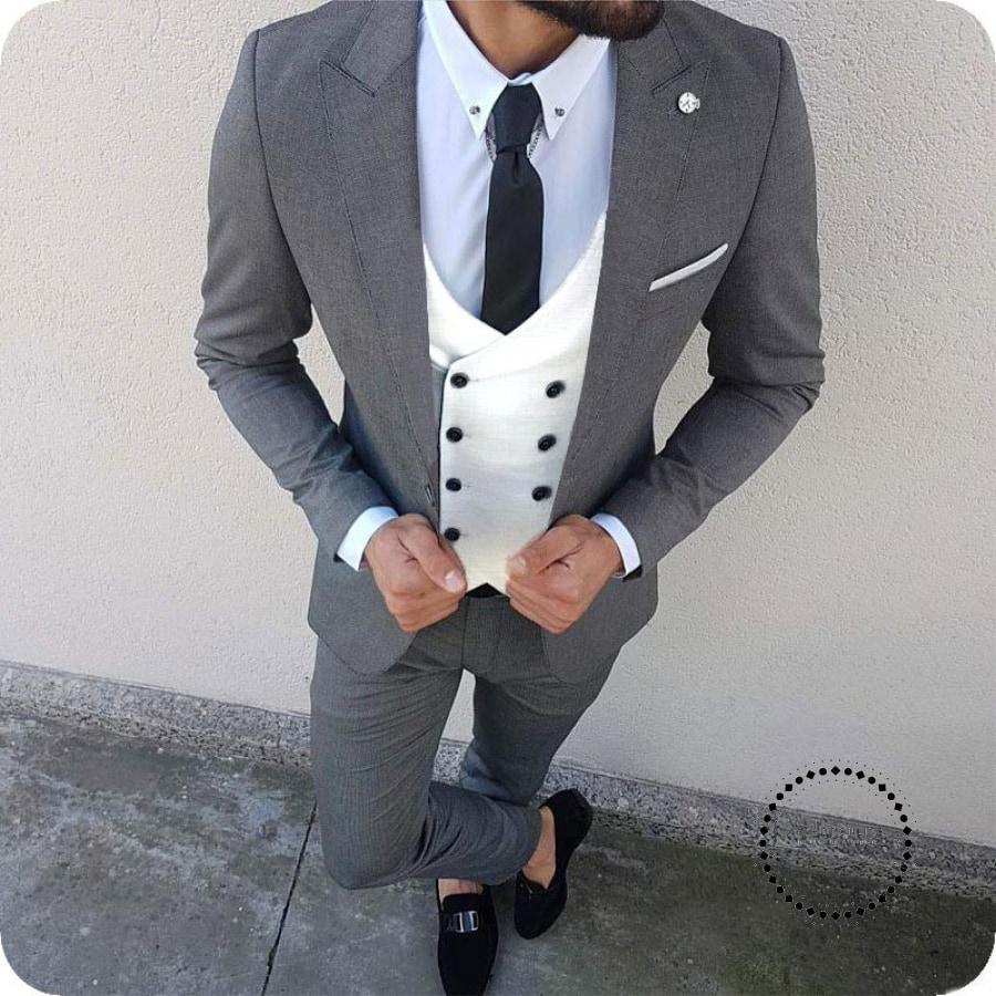 Custom Made 3 Pcs Suit Men Blazer Wedding Men Suit With Pants Double Breasted Vest Terno Slim Fit Tuxedo Jacket Pant Vest - myshoponline.com