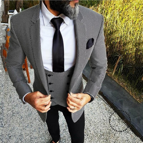 Custom Wedding Suits for Men Floral Slim Fit Groom Tuxedo British Men's Classic Suit Retro Male Blazer 3 Pieces - myshoponline.com