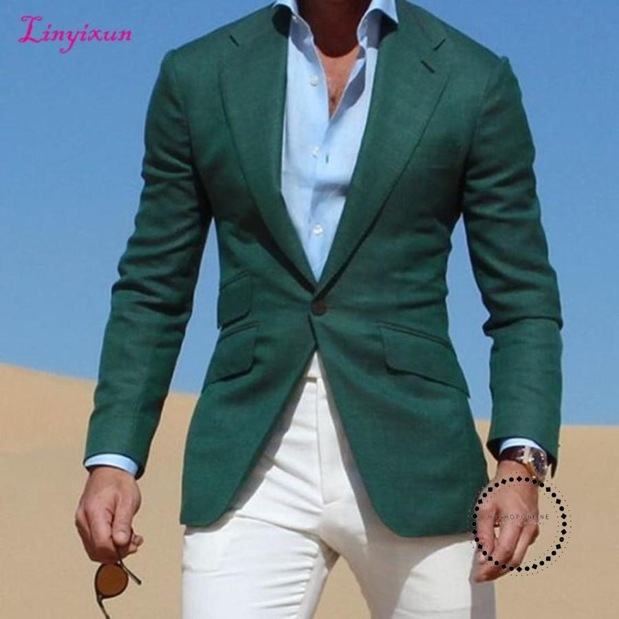 Dark Green Jacket suits With Ivory Pants 2017 Casual Wear Young Men Suit Fashion Party Prom Vestidos - myshoponline.com